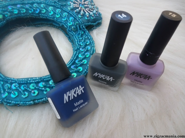Nykaa Matte Nail Paints (Squid ink Mousse, Lavender Panna Cotta & Blueberry Compote) Review