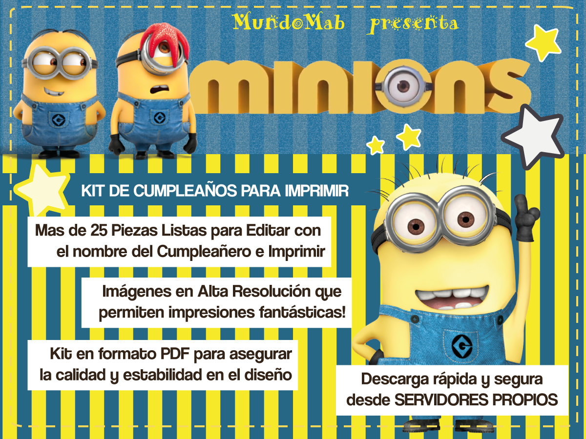 Mundomab Kit De Cumpleaños Para Imprimir Minions