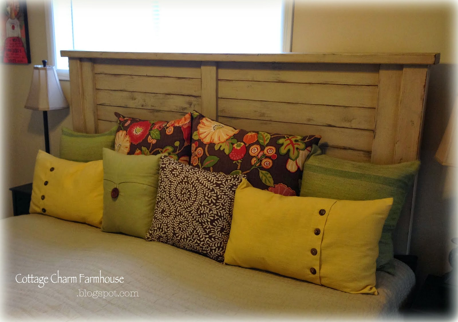 Cottage charm farmhouse collection shutter style headboard for Cottage charm farmhouse