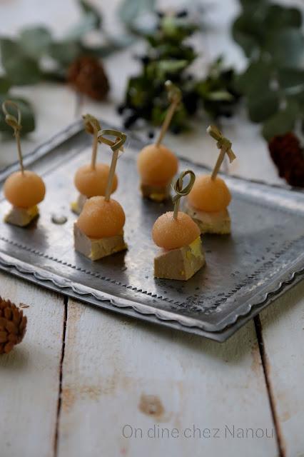 foie gras, coings pochés, aperitif