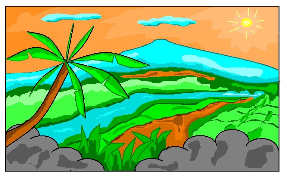 Gambar 10 Gambar Mewarnai Pemandangan Gunung Crayon Lovely Download