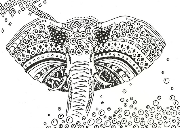 Floral Elephant Coloring Pages For Adults  Zentangled Elephant  Art Card