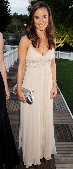 Pippa Middleton look vestido bege, irmã da Kate
