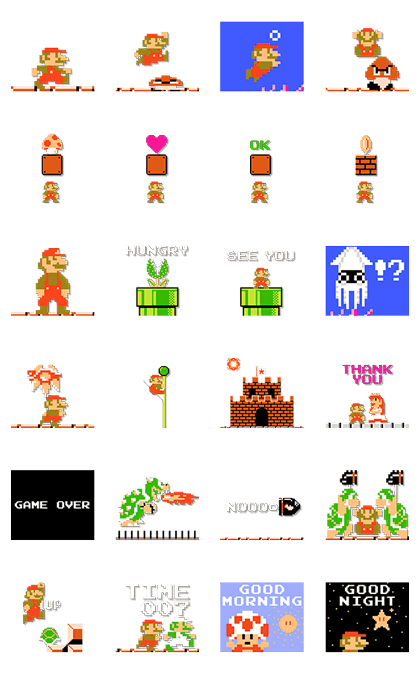 Super Mario Bros. 8-Bit Stickers