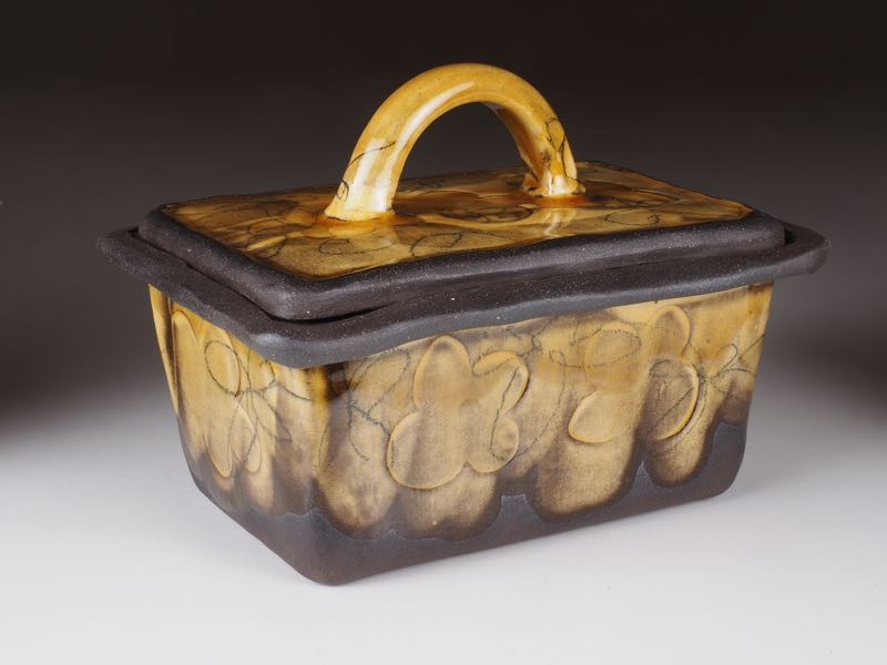 Honey glazed earthenware butter dish