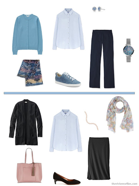 2 ways to wear a blue linen shirt from a Tote Bag Travel wardrobe in black, white and pastels