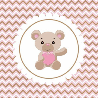 Baby Bear with Pink Heart Free Printable Labels.