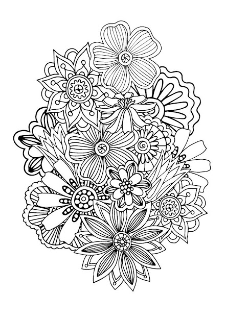 Zen  Antistress Coloring Page  Abstract Pattern Inspired By Flowers