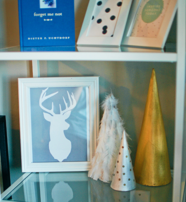 DIY holiday shelf decor