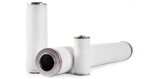 Coalescing filter cartridges and media for compressed air or gas systems