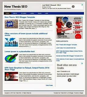 New Thesis Template Blogger Seo Responsive Free Premium