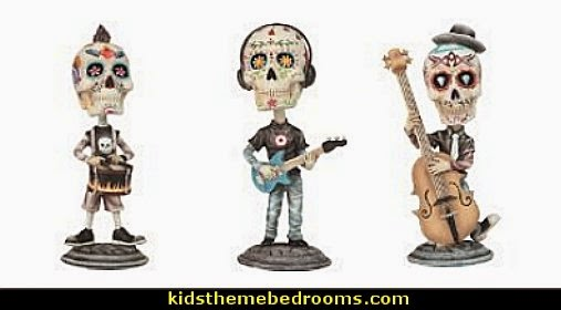 7 Inch Day of the Dead Sugar Skull Playing Guitar Figurine