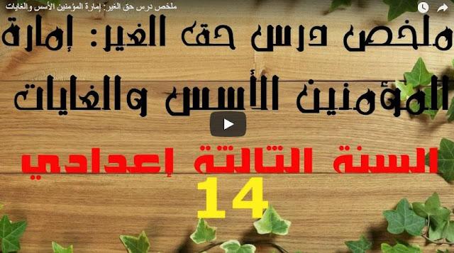 الثالثة إعدادي ملخص الدرس 13 حق الغير: إمارة المؤمنين الأسس والغايات