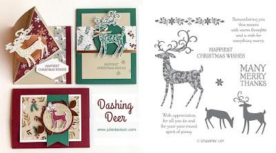 Stampin' Up! Dashing Deer Card Kit for October 2018 Stamp of the Month Club by Julie Davison www.juliedavison.com/clubs