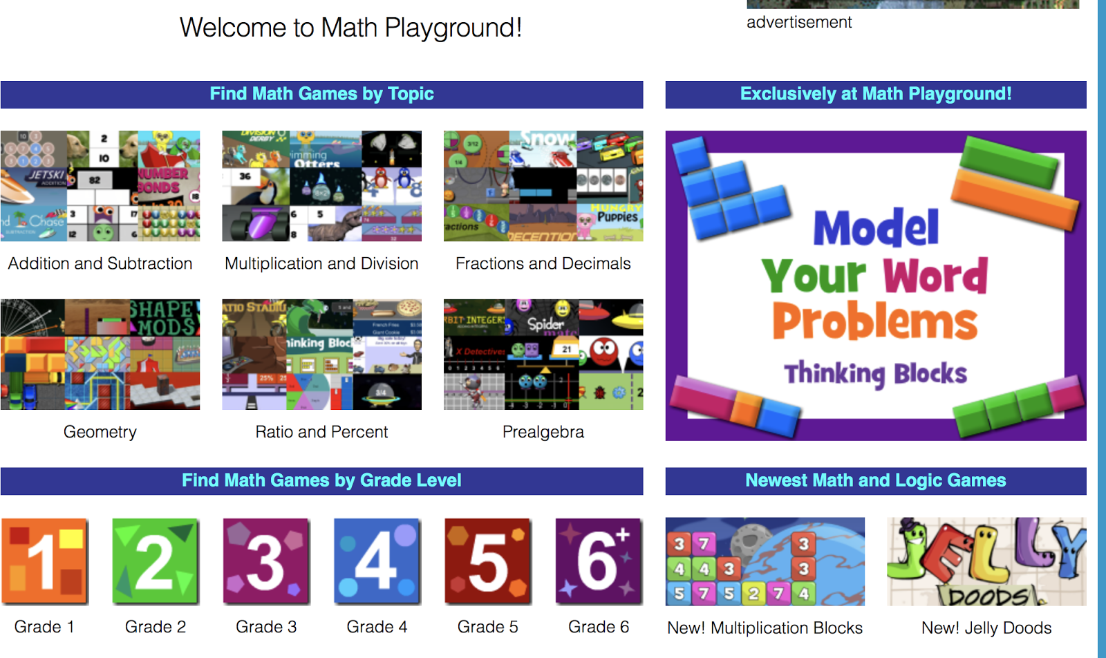 Games games and more games that s what you ll find by grade level on math playground you re welcome