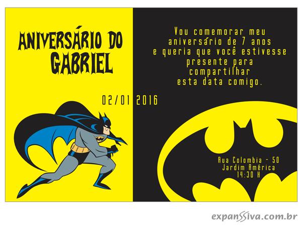 Convite de Aniversario Personalizado Batman