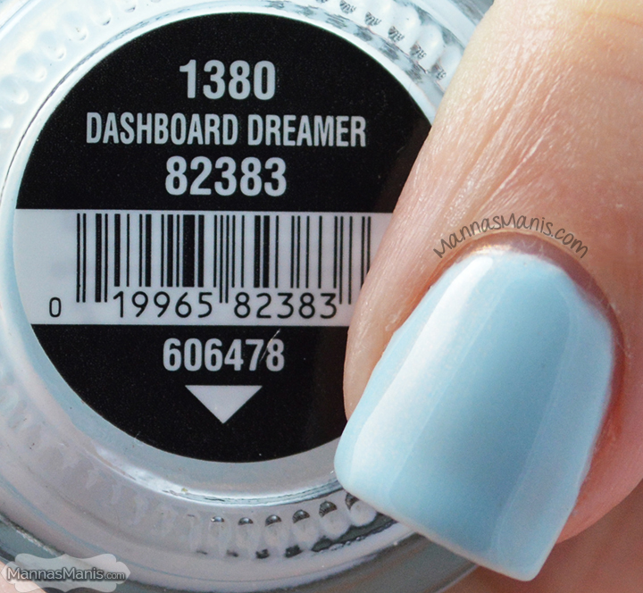 China Glaze Road Trip Dashboard Dreamer, a shimmery blue nail polish