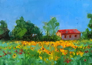 Italy leMarche region sunflower painting by Marion Corbin Mayer