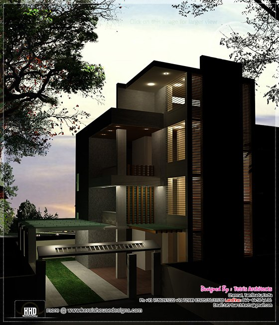 Modern 3 floor house night view