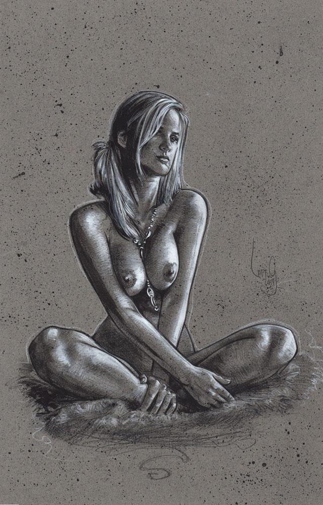 Sitting Nude Woman, Artwork is Copyright © 2014 Jeff Lafferty