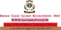 Indian Coast Guard Recruitment 2017– Motor Transport Driver