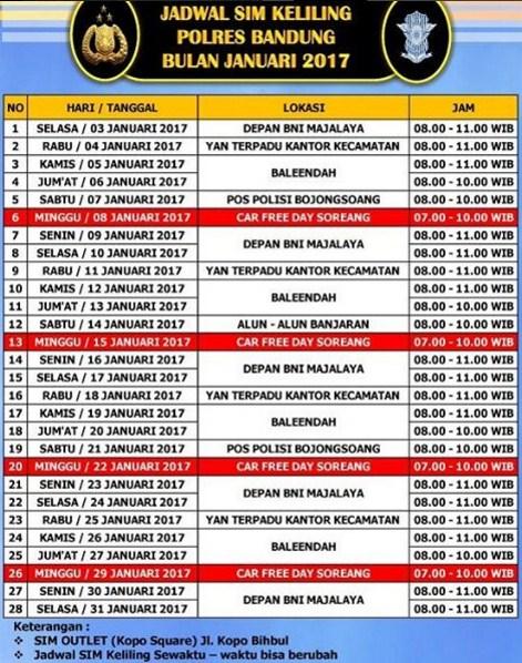 Jadwal SIM Keliling Bandung Februari 2017