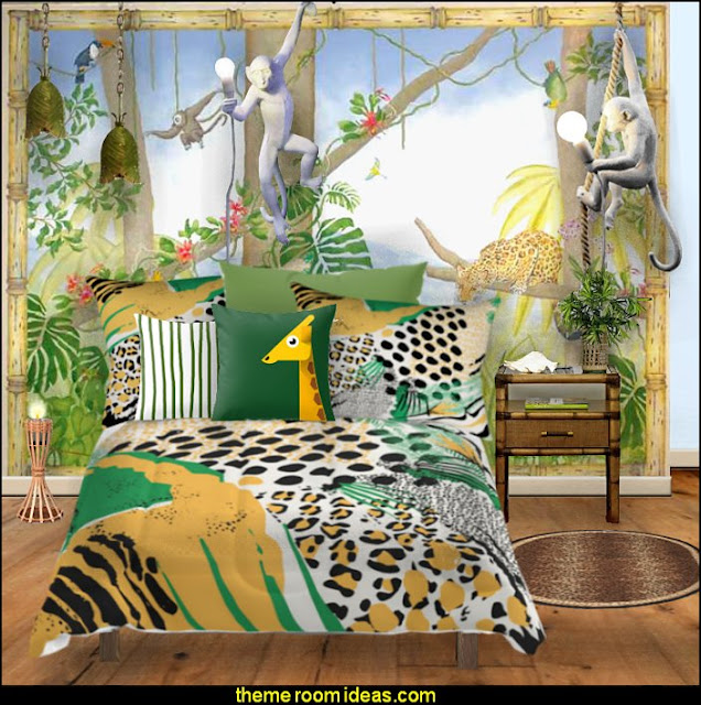 Decorate your jungle paradise with fun furnishings - jungle themed bedding - novelty lighting - banana leaf hanging pendant, mischievous monkey wall and ceiling lights, bamboo furniture and don't forget the walls - stencil topical plants and jungle animals to complete your unique look.
