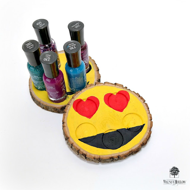 Emoji Wood Slice Nail Polish Holder by Dana Tatar for Walnut Hollow