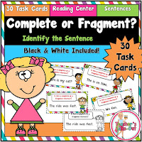 Complete or Fragment Sentences includes 30 task cards