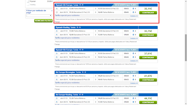 Captura de pantalla con el precio ofrecido por Rumbo, donde también se tiene descuento por método de pago al usar la tarjeta Viabuy Mastercard prepago