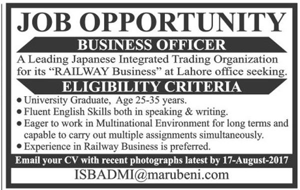 Business Officer Jobs in Japanese Integrated Trading Organization Lahore Aug 2017