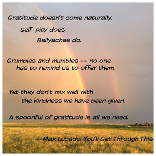 Gratitude doesn't come naturally.  Self-pity does.  Belyaches do.  Grumbles and mumbles -- no one has to remind us to offer them.  Yet they don't mix well with the kindness we have been given.  A spoonful of gratitude is all we need.  ~Max Lucado, You'll Get Through This