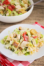 This delicious and zesty chicken caesar pasta salad is quick and easy to make, and perfect for a light summer meal or for a potluck!