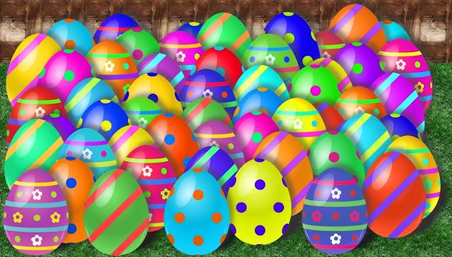 Grafik mit vielen bunten Eiern