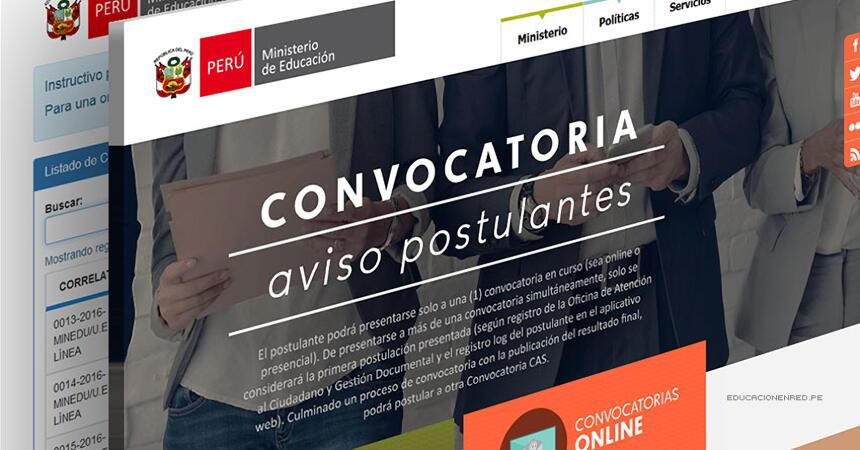 Minedu convocatoria cas noviembre 2016 para trabajar en for Convocatoria docentes 2016 ministerio de educacion