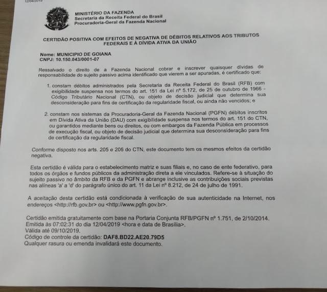 Prefeitura está pagando dívida milionária da gestão passada e conquistou certidão da Receita Federal