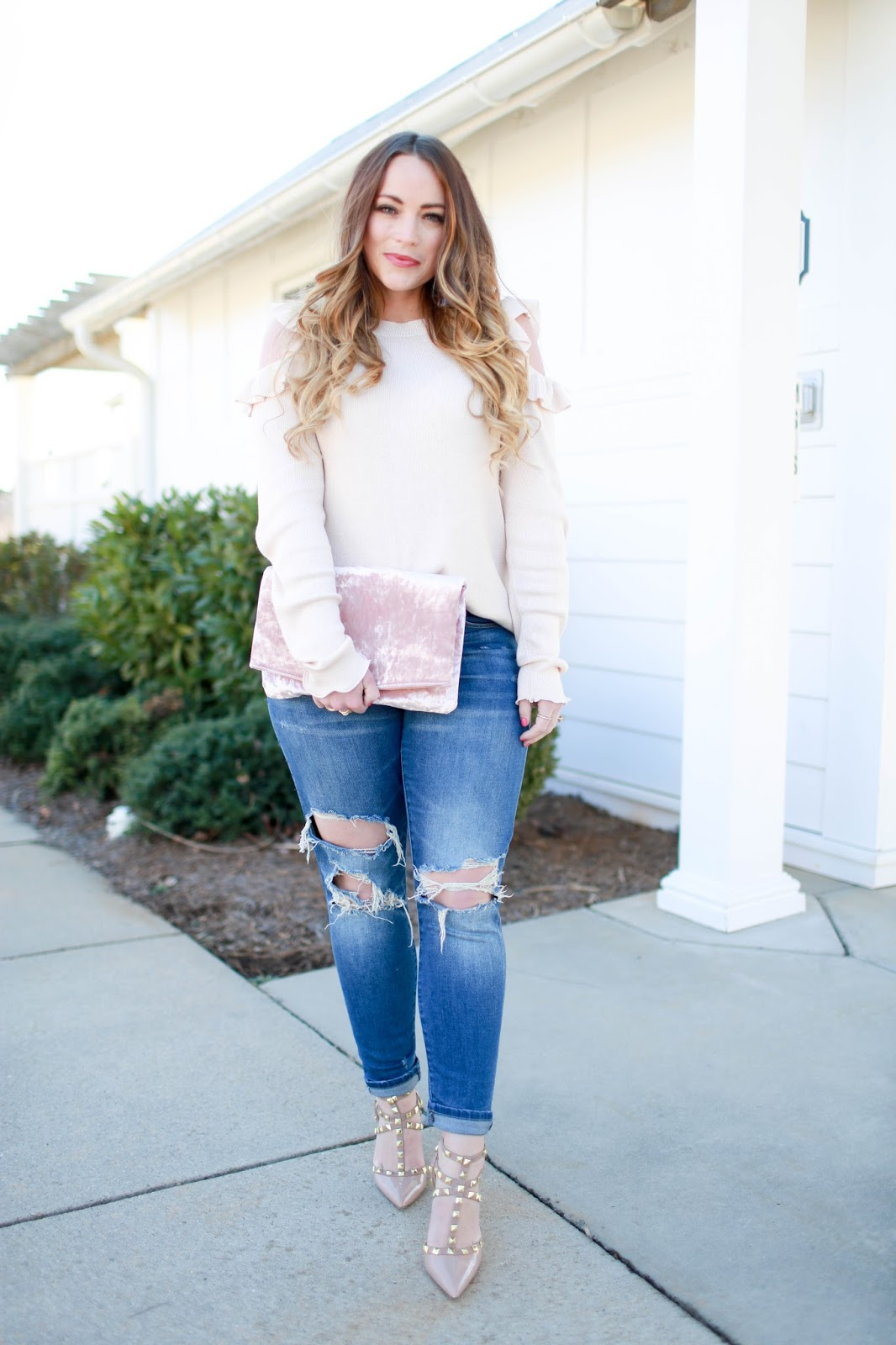 df146bb11c317 Cold Shoulder Sweater + Ripped Jeans • Brittany Ann Courtney