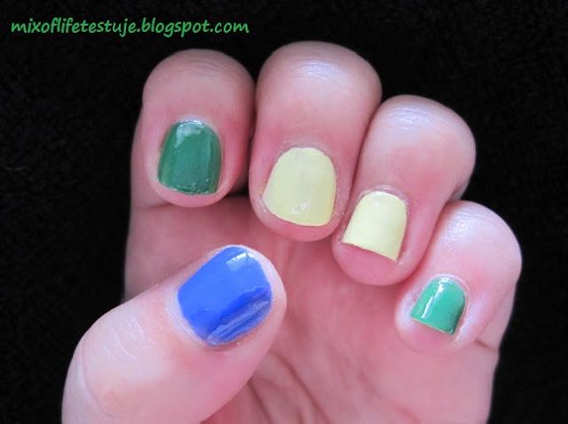 mulan na paznokciach, żółty lakier,