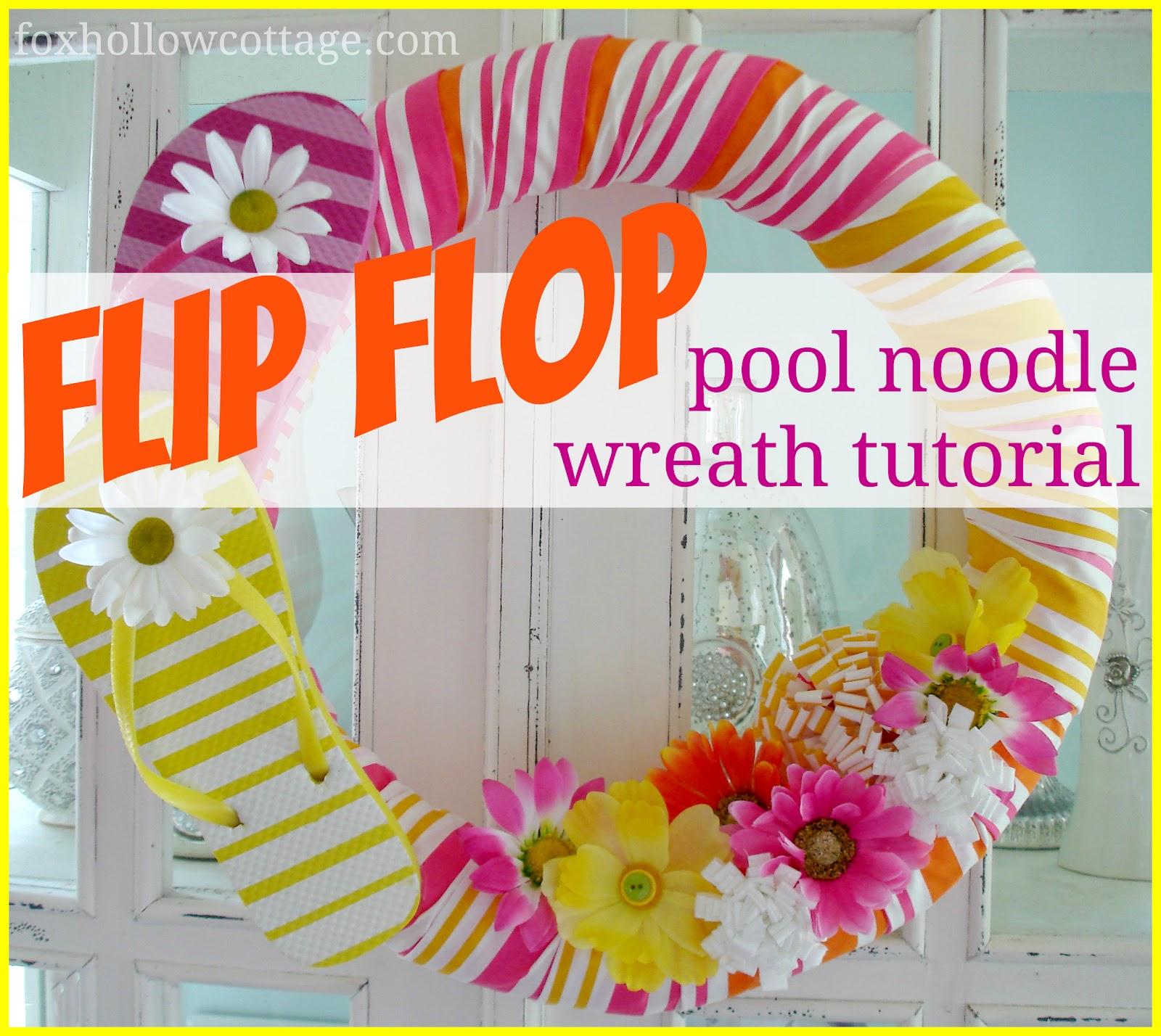 59de4a523379 Flip Flop Summer Pool Noodle Wreath Tutorial - Fox Hollow Cottage