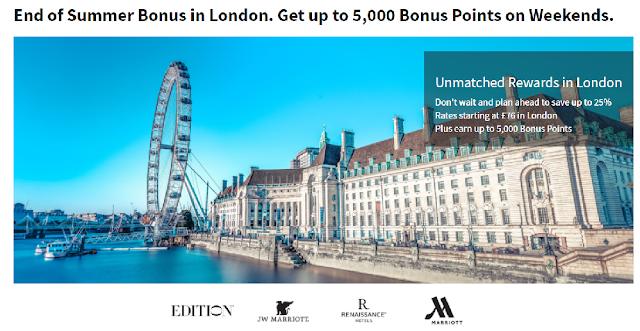 周末入住萬豪Marriott倫敦 參與酒店最高可享5000積分,另提前預訂可享最高25%房價折扣