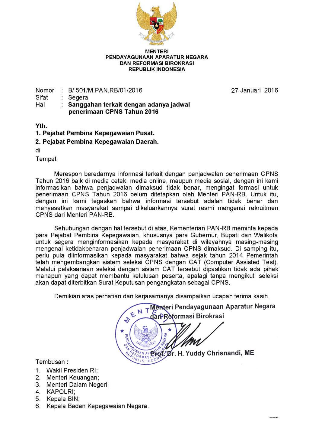 Surat Edaran MenPAN-RB Sanggahan Adanya Informasi Jadwal ...