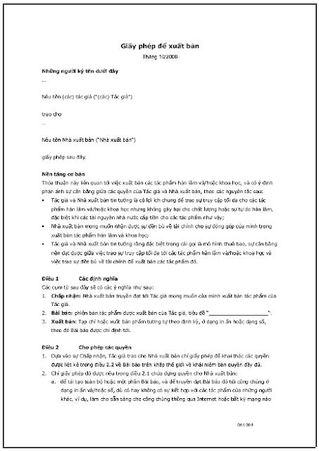 Giấy phép để xuất bản - bản dịch sang tiếng Việt