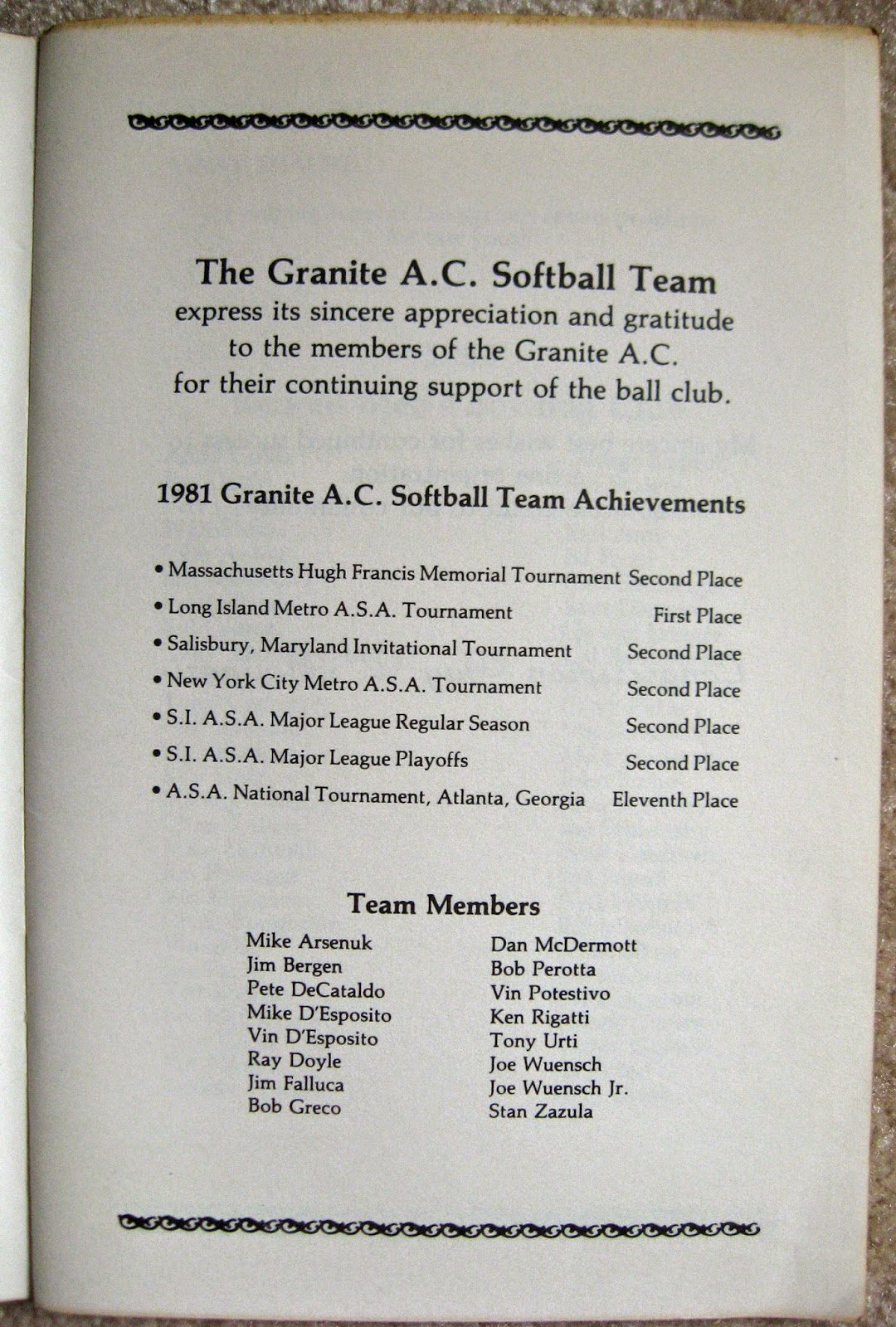 Page 2 of booklet displaying Granite softball team roster and tournament finishes for 1981