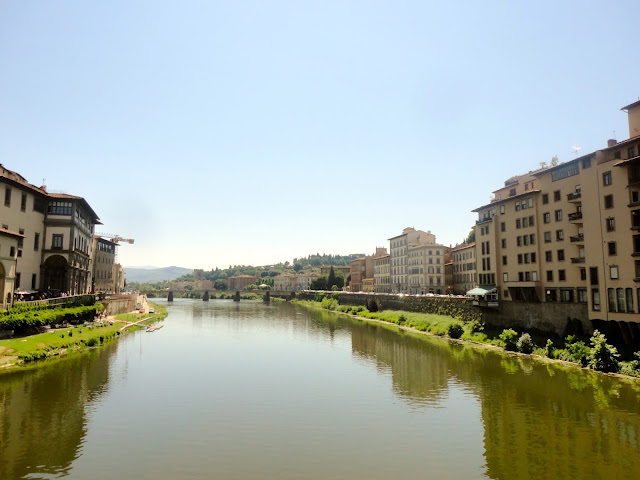 View of the River Arno from the Ponte Vecchio (bridge) in Florence, Italy