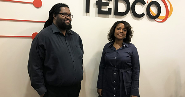 "TEDCO employees McKeever E. ""Mac"" Conwell II, deal team coordinator and Angela Singleton, deal team member/ portfolio manager"