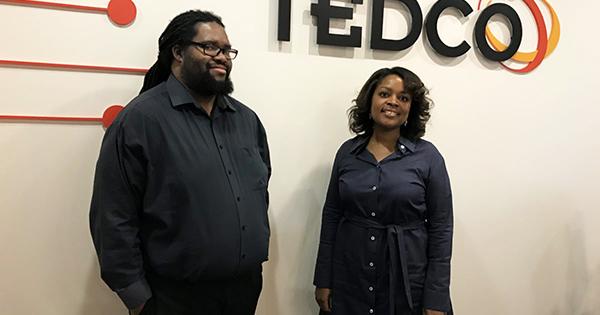 "TEDCO employees McKeever E. ""Mac"" Conwell II, deal team coordinator and Angela Singleton, deal team member/ portfolio manager"