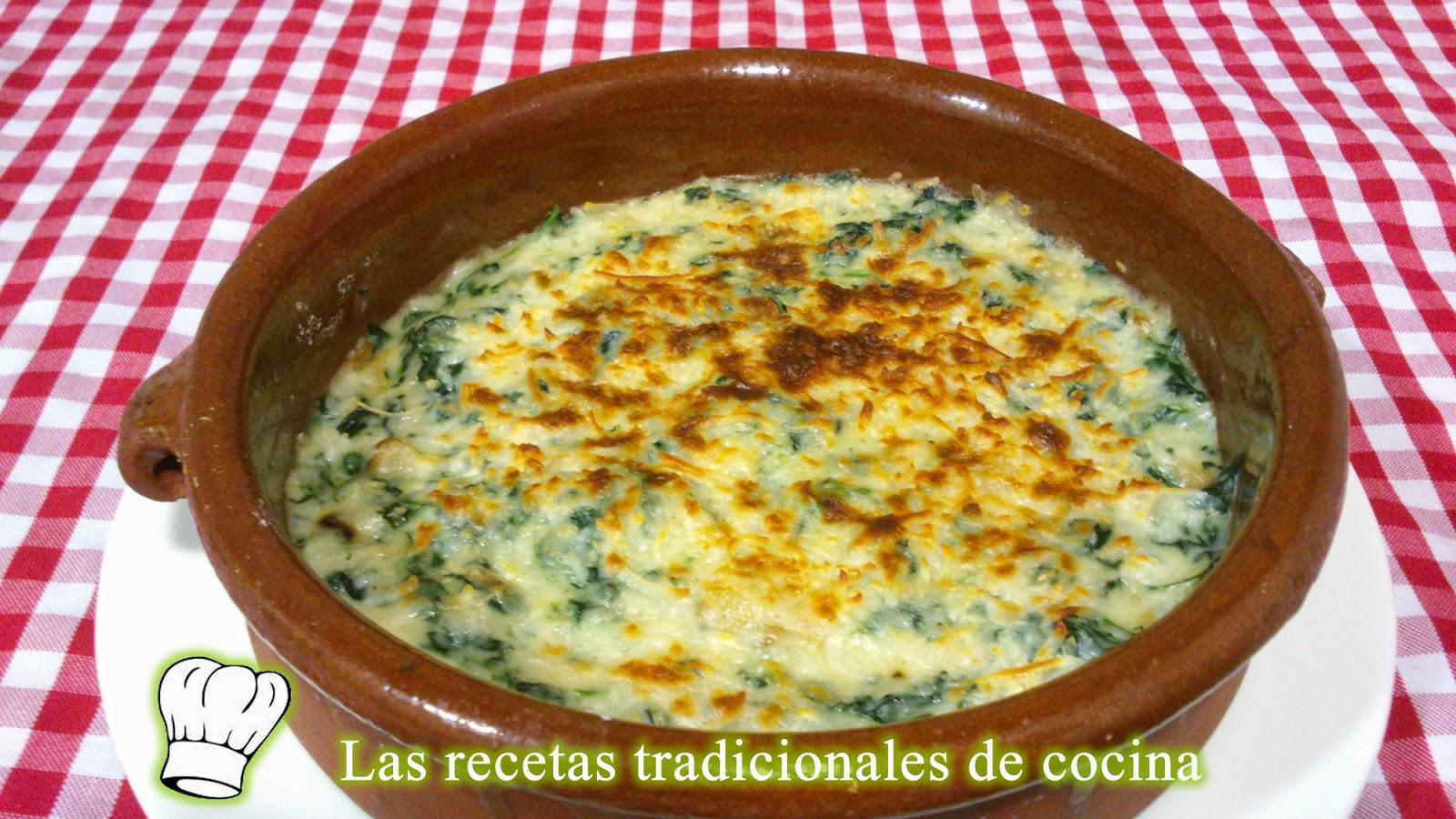 Receta de espinacas con bechamel recetas de cocina con for Cocinar espinacas