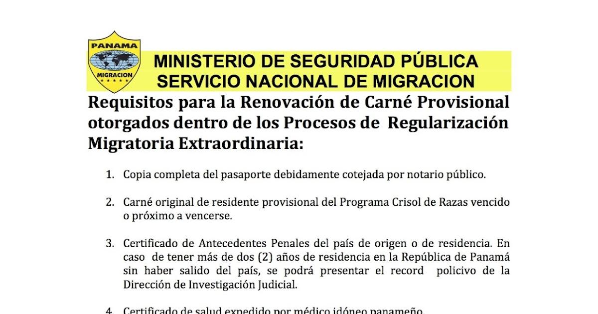 Comunicado migracion renovacion de carnet requisitos for Ministerio de migracion