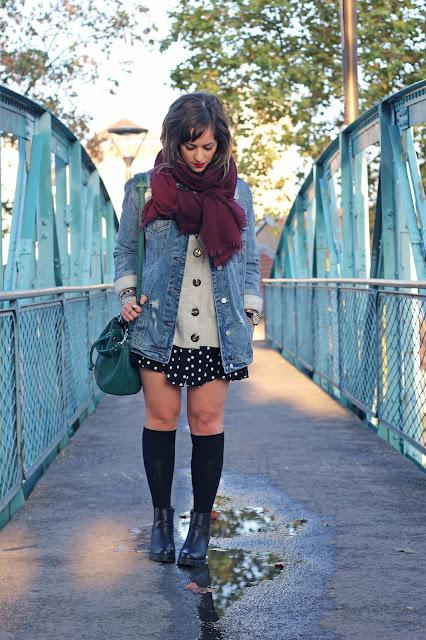 cuissardes-chaussettes-hautes-veste-oversize-stradivarius-robe-pois-gilet-maille-zara-echarpe-pimkie-look-mode-fashion-blog