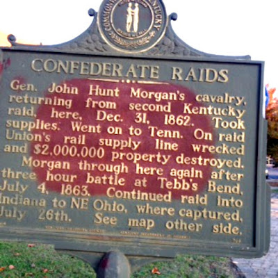 Confederate Raids Historical Marker in Campbellsville Kentucky